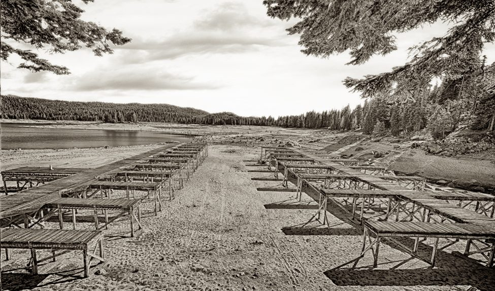 Huntington Lake docks in black and white from So Shoot Me!®