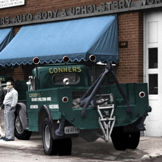 Bob's Dad's Auto Shop circa ancient and colorized by Rick Horowitz